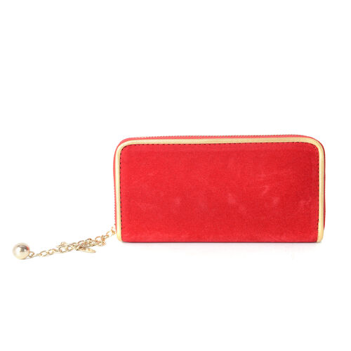 Red Velvet with Metallic Gold Colour Chain with RFID Blocking Wallet ( 19x10x2.5cm  Large size phone