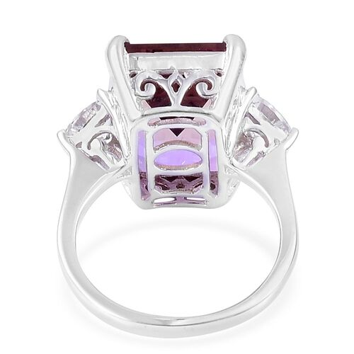 Anahi Ametrine (Oct 12.75 Ct), White Topaz Ring in Platinum Overlay Sterling Silver 13.800 Ct.