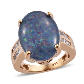 Boulder Opal and Cambodian Zircon Cocktail Ring in Gold Plated Sterling Silver 5.5 Grams
