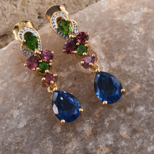 GP Ceylon Colour Quartz (Pear), Russian Diopside, Rhodolite Garnet and Kanchanaburi Blue Sapphire Earrings (with Push Back) in 14K Gold Overlay Sterling Silver 6.000 Ct.