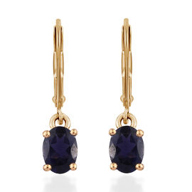 Iolite (Ovl) Lever Back Earrings in 14K Gold Overlay Sterling Silver 1.250 Ct.