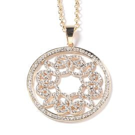 White Austrian Crystal (Rnd) Circle Pendant with Chain (Size 29 and 2 inch Extender) in Rose Gold Tone
