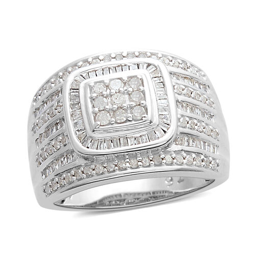 Diamond (Rnd and Bgt) Cluster Ring in Platinum Overlay Sterling Silver 1.000 Ct, Silver wt 7.64 Gms, Number of Diamonds 163.
