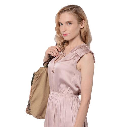 Swan Pattern Jute Handbag (40x11x29cm) - Khaki Colour