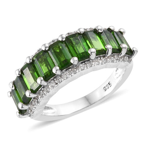 Russian Diopside (Oct), Natural Cambodian Zircon Ring in Platinum Overlay Sterling Silver 3.500 Ct.