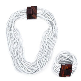 2 Piece Set - White Colour Beads Multi Strand Necklace (Size 20) and Bracelet (Size 7.5) with Wooden