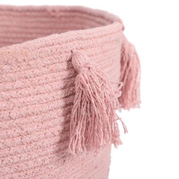 100% Cotton Braided Multipurpose Blush Basket With Tassels (45x45x30cm)