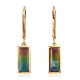 Canadian Ammolite (Bgt 10x4mm) Lever Back Earrings in 14K Gold Overlay Sterling Silver 2.000 Ct.