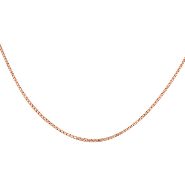 Vicenza Collection Rose Gold Overlay Sterling Silver Box Necklace (Size 20)