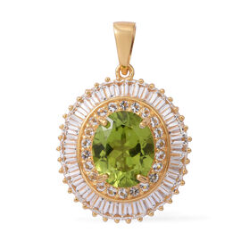 Extremely Rare Size- Hebei Peridot (Ovl 11X9MM 4.00 Ct), White Topaz Pendant in Yellow Gold Overlay Sterling Silver 8.010 Ct.