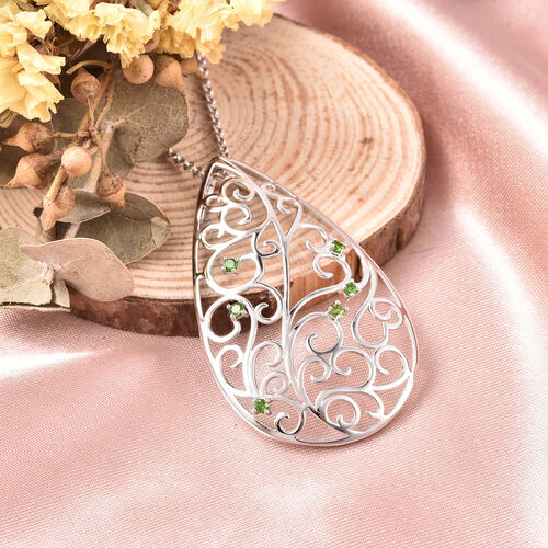 LucyQ Victorian Era Collection - Russian Diopside Filigree Design Pendant with Chain (Size 20) in Rhodium Overlay Sterling Silver