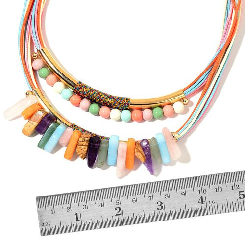 Multi Gem Stones Beads Necklace (Size 20 with 3 inch Extender) 120.000 Ct.
