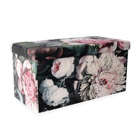 Luxury Edition - Pink Gardenia Flower Printed Velvet Foldable Storage Ottoman (Size  76x38x38 Cm)