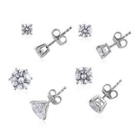 J Francis - Set of 4 - Platinum Overlay Sterling Silver Stud Earrings (with Push Back) Made with SWA