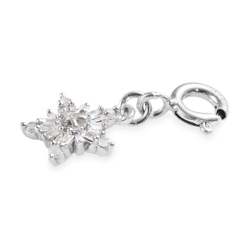 White Diamond (Rnd and Bgt) Snowflake Charm in Platinum Overlay Sterling Silver