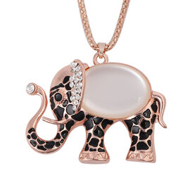 Simulated Diamond and Multi Gemstone Enamelled Elephant Pendant with Chain (Size 28 with 2 inch Exte