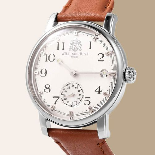 WILLIAM HUNT Japanese Movement Water Resistance Watch in Stainless Steel with Coffee Leather Strap