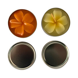Plumeria Candle in Travelling Tin with Vanilla and Lemon Scent (Size 7.5x2.5 Cm) - Orange and Yellow
