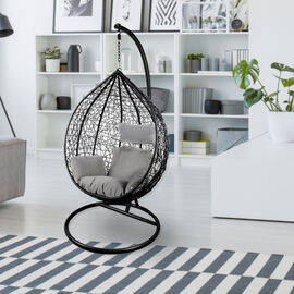 Outdoor Swing Chair With Stand and Super Hi-Luxe Cushions - Black