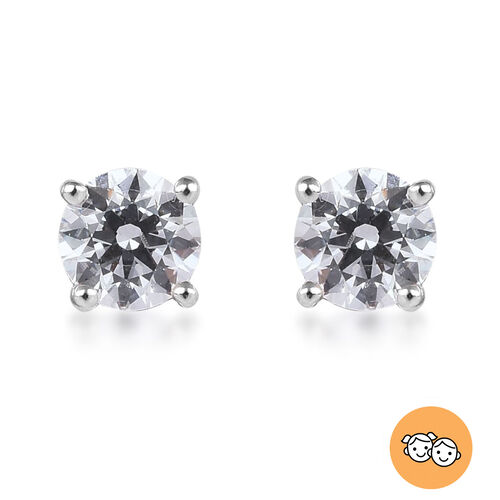 J Francis - 9K White Gold Kids Stud Earrings (with Push Back) Made with SWAROVSKI ZIRCONIA 0.50 Ct.