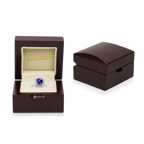 ILIANA 18K White Gold AAA Tanzanite (Cush 8x8mm), Diamond (SI/G-H) Ring 2.71 Ct.