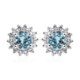 9K White Gold Blue Zircon (Rnd), Natural Cambodian Zircon Halo Stud Earrings (with Push Back) 1.650  Ct.