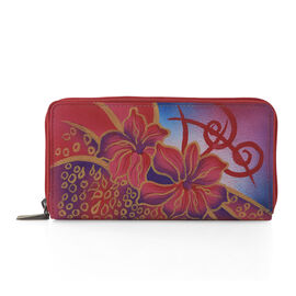 SUKRITI - 100% Genuine Leather Pink Colour  Lilly Flower Handpained Wallet with RFID Blocking (Size 18.5x10x2 Cm)
