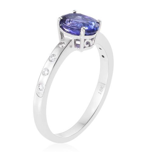 Auction Only Deal - Designer Inspired-ILIANA 18K White Gold AAA Tanzanite (Ovl 1.90 Ct), Diamond (SI/G-H) Ring 2.000 Ct. Gold Wt 4.20 Gms
