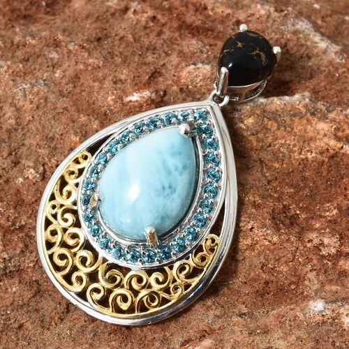 Larimar (Pear 11.25 Ct), Mojave Black Turquoise and Signity Pariaba Topaz Drop Pendant in Platinum Overlay Sterling Silver 14.750 Ct. Silver wt 6.61 Gms.