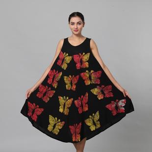 100% Viscose Butterfly Pattern Tie Dye Women Dress (Size:100x128 Cm) - Black