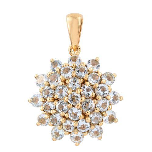 Espirito Santo Aquamarine 3.25 ct. Silver Cluster Pendant in Gold Overlay