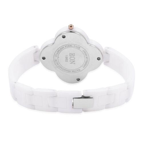 EON 1962 Diamond Swiss Movement Clover White HighTech Ceramic Watch -30 Mts Water Resistance