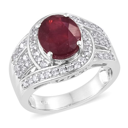 African Ruby (Ovl 5.00 Ct), Natural Cambodian Zircon Ring in Platinum Overlay Sterling Silver 6.000 Ct. Silver wt 5.24 Gms.