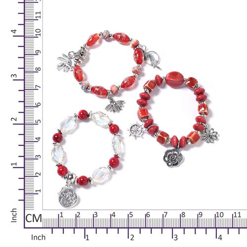 Set of 3  Multi Colour and Murano Style Glass Beads Bracelet (Size 6.5) with Multi Charm