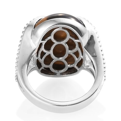 Designer Inspired - Tigers Eye (Ovl 20x15mm) Ring in Silver Plated 15.000 Ct.