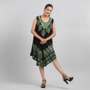 100% Viscose Crepe Umbrella Dress Embellished with Batik and Embroidery (Size 120x105 Cm) - Black &