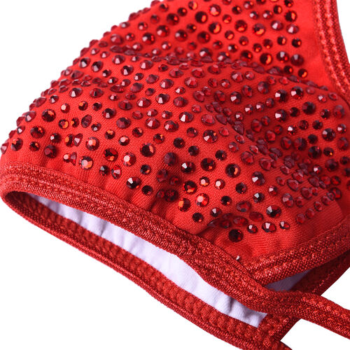 Rhinestone Face Cover with Filter Pocket and Adjustable Ear Button - Red