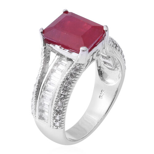 African Ruby ( Oct 7.35 Ct), White Topaz Ring in Rhodium Overlay Sterling Silver 8.850 Ct, Silver wt 5.93 Gms.