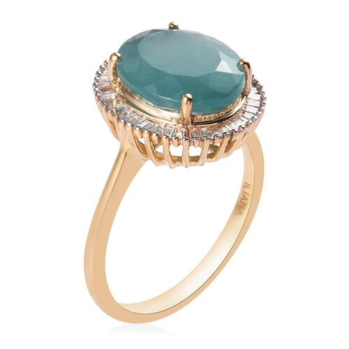 ILIANA 18K Yellow Gold Grandidierite and Diamond Halo Ring 5.50 Ct, Gold wt. 4.30 Gms