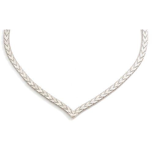Viale Argento Rhodium Overlay Sterling Silver Riccio Necklace (Size 18)