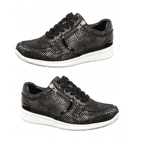 Lotus Stressless Black Pewter & Snake Leather Shira Casual Trainers (Size 4)