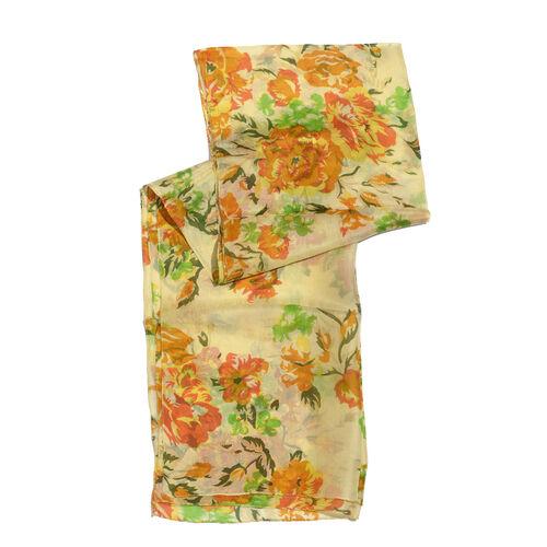 100% Mulberry Silk Multi Colour Floral Pattern Lime Colour Scarf (Size 180x50 Cm)