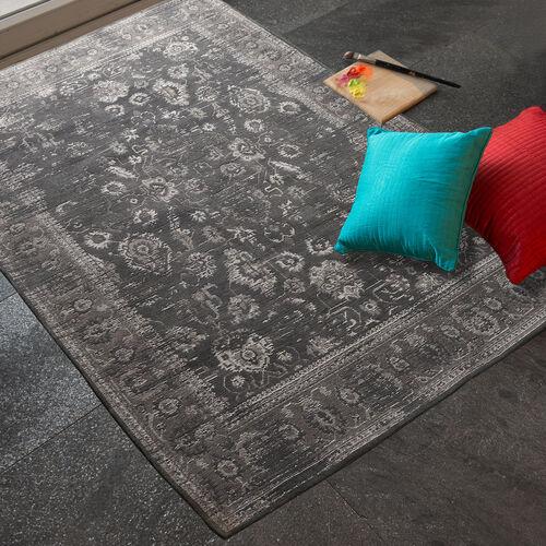 Premium Jacquard Woven 95% Cotton Chenille Area Rug with Persian Design in Dark Grey Colour (Size 200x140 Cm)
