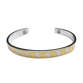 Adjustable Magnetic Cuff Bangle in Dual Tone 7 Inch