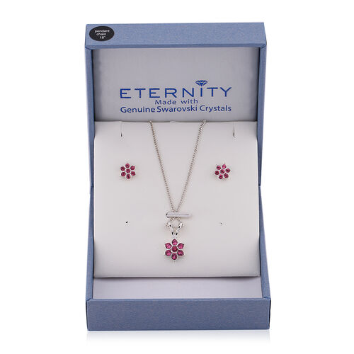 2 Piece Set -  ETERNITY Pink Swarovski Crystal Necklace (Size 18 with 2 inch Extender) and Earrings (with Push Back)