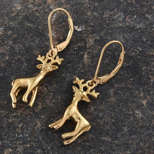 14K Gold Overlay Sterling Silver Deer Lever Back Earrings, Silver wt 5.56 Gms.