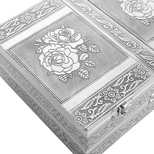 Handcrafted Rose Flower Embossed Double Storey Two Door Jewellery Box with Black Velvet and Mirror Inside (Size 23X17.5X8 Cm)