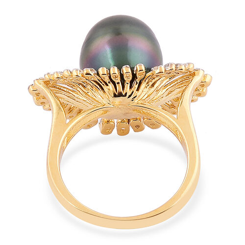 Tahitian Pearl (Rnd 11-12 mm), White Topaz Ring in Yellow Gold Overlay Sterling Silver