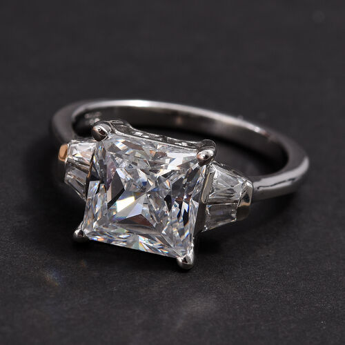 J Francis - Platinum Overlay Sterling Silver (Sqr and Bgt) Ring Made with SWAROVSKI ZIRCONIA 5.00 Ct.