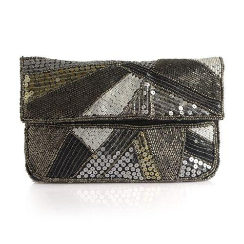 Black, White and Multi Colour Hand Bag (Size 23x15 Cm)